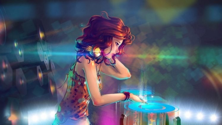women, DJ, Turntables, Interfaces, Headphones, Anime girls HD Wallpaper Desktop Background
