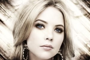 Ashley Benson, Women, Blonde, Face, Blue eyes, Selective coloring