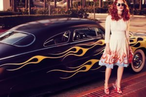 Jessica Chastain, Redhead, Car, Fire, Model, Women