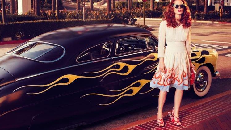 Jessica Chastain, Redhead, Car, Fire, Model, Women HD Wallpaper Desktop Background