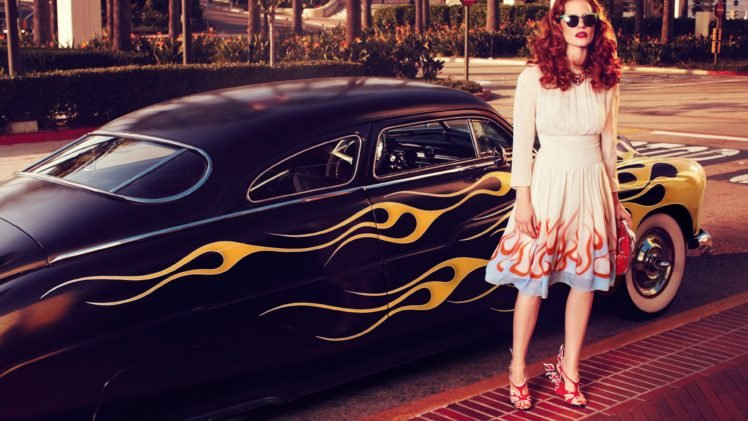 Jessica Chastain Redhead Car Fire Model Women Hd