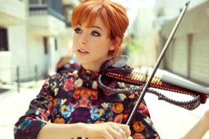 women, Redhead, Face, Women outdoors, Lindsey Stirling, Short hair, Violin, Open mouth, Playing, Street, Dress, Blue eyes, Musicians