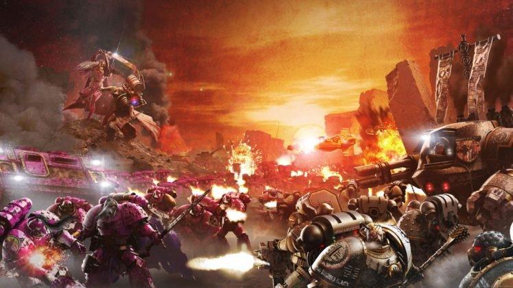Warhammer 40, 000, Space marines, Horus Heresy, War, Science fiction, Futuristic, Battle, Artwork HD Wallpaper Desktop Background