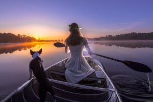 women, Model, Long hair, Water, Sitting, Nature, Horizon, Reflection, Women outdoors, Dog, Boat, Sunset, Trees, Paddleship, White dress, Rear view, Mist