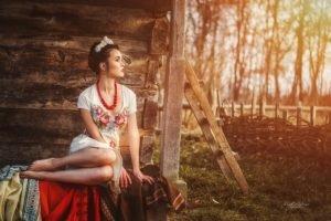 women, Model, Brunette, Red lipstick, Sunset, Dress, Legs together