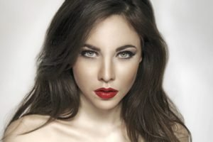 women, Model, Brunette, Red lipstick, Green eyes, Face