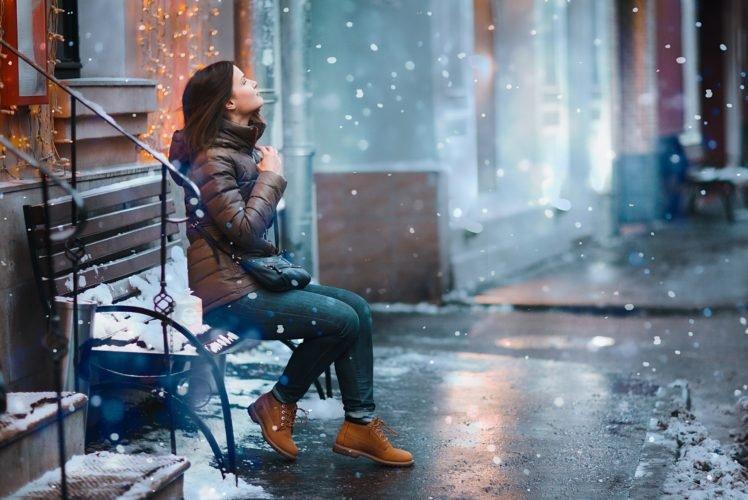 snow, Women, Street, Women outdoors, Bokeh, City, Winter, Lights, Depth of field, Bench HD Wallpaper Desktop Background
