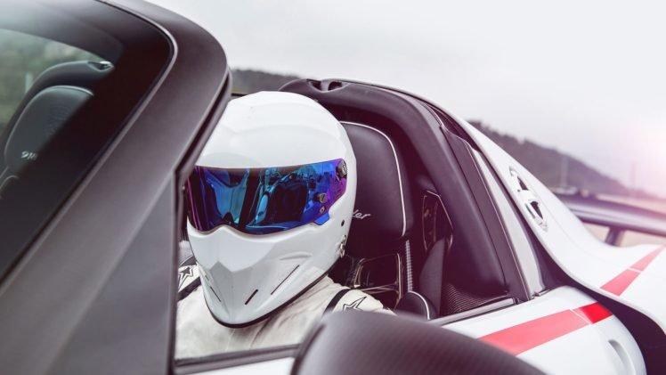 Men The Stig Helmet Sports Car Porsche Reflection Top Gear