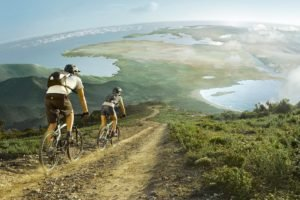 men, Women, Cycling, Nature, Landscape, Hill, Bicycle, Africa, Europe, Sea, Road, Photo manipulation, Clouds