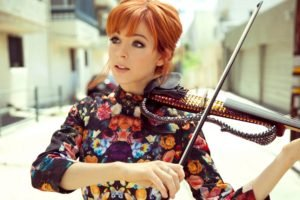 women, Redhead, Violin, Bangs, Dress, Lindsey Stirling