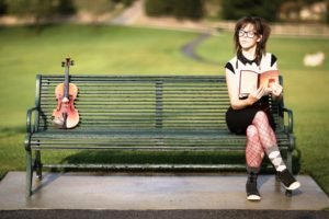 Lindsey Stirling, Women, Violin, Glasses, Women with glasses, Stockings, Bench, Women outdoors, Books, Depth of field