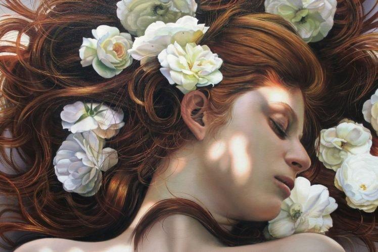artwork, Women, Redhead, Face HD Wallpaper Desktop Background
