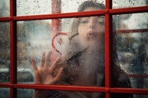 women, Water drops, Water on glass, Window, Hearts