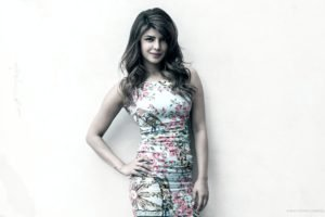 hands on hips, White background, Floral, Priyanka Chopra