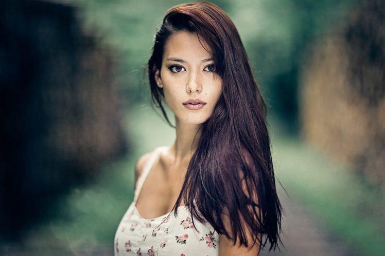 women, Model, Brunette, Brown eyes, Women outdoors, White dress HD Wallpaper Desktop Background