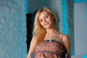 women, Model, Blonde, Long hair, Smiling, Blue eyes, Dress, Walls, Chair, Janice A