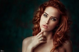 women, Model, Redhead, Green eyes, Juicy lips, Looking at viewer, Georgiy Chernyadyev