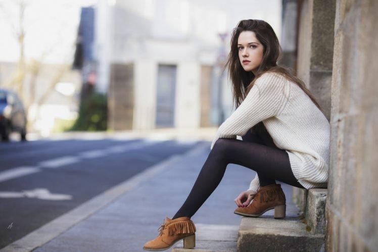 women, Model, Brunette, Street, Fashion, Red lipstick, Brown eyes HD Wallpaper Desktop Background