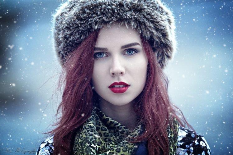 women, Model, Redhead, Red lipstick, Blue eyes, Winter HD Wallpaper Desktop Background
