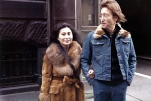 men, Women, Couple, Musicians, Singer, John Lennon, Yoko Ono, Street, Coats, Glasses, Jeans, Building, Legend