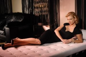 January Jones, Women, Blonde, Dress, Black dress, Lying down, High heels, Actress, Bracelets