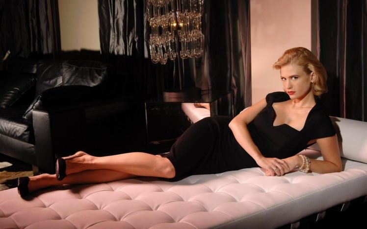 January Jones, Women, Blonde, Dress, Black dress, Lying down, High heels, Actress, Bracelets HD Wallpaper Desktop Background