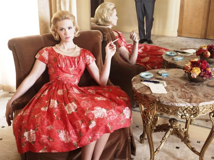 January Jones, Women, Blonde, Dress, Cigarettes HD Wallpaper Desktop Background
