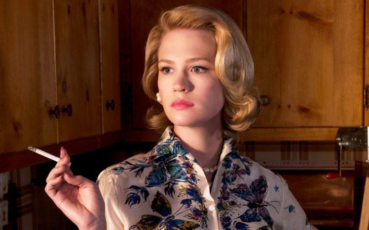 January Jones, Women, Blonde, Cigarettes, Blue eyes, Smoking HD Wallpaper Desktop Background