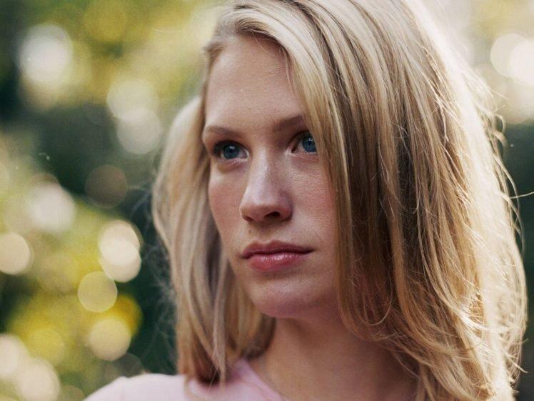 January Jones, Women, Blonde, Blue eyes, Face HD Wallpaper Desktop Background
