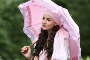 women, Brunette, Long hair, Umbrella, Fahriye Evcen