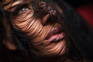 women, Face, Brunette, Blue eyes, Veils