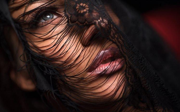 women, Face, Brunette, Blue eyes, Veils HD Wallpaper Desktop Background