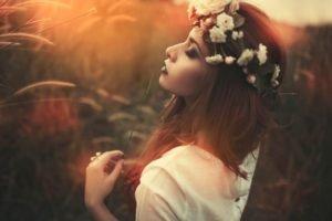 women, Brunette, Women outdoors, Smoky eyes, Flowers, Flower in hair, Closed eyes