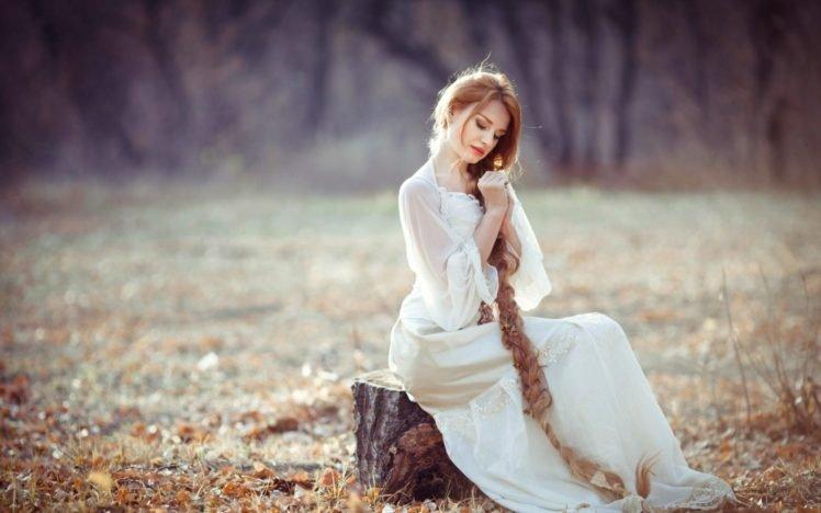 women, Long hair, Braids, Redhead, Dress, White dress, Women outdoors HD Wallpaper Desktop Background