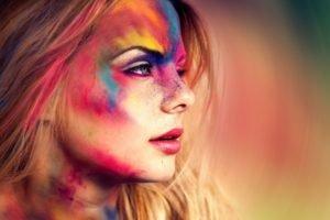 women, Colorful, Face, Blue eyes, Blonde