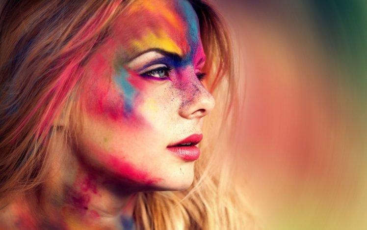 women, Colorful, Face, Blue eyes, Blonde HD Wallpaper Desktop Background