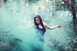 women, Smoke, Women outdoors, Dress, Closed eyes, Forest, Nature