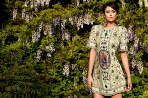 women, Model, Brunette, Dress, Women outdoors, Short hair, Nature, Trees, Flowers, Earrings, Nina Dobrev