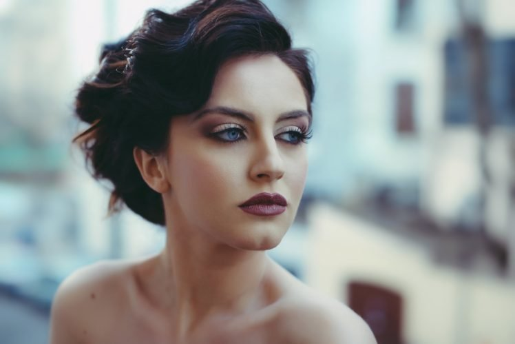 model, Makeup, David Olkarny, Classy, Women, Brunette, Blue eyes, Women outdoors, Aurela Skandaj, Face, Bare shoulders, Stylized HD Wallpaper Desktop Background
