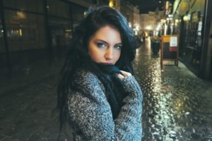 model, Street light, Anime, Black hair, Women, Brunette, Blue eyes, Long hair, Sweater, Looking at viewer, Women outdoors, Street, Night, City, David Olkarny, Aurela Skandaj