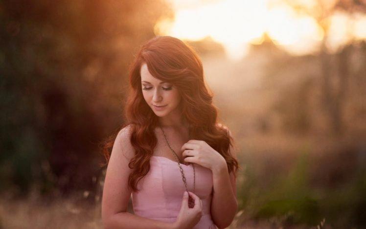 women, Model, Brunette, Long hair, Women outdoors, Nature, Sunlight, Closed eyes HD Wallpaper Desktop Background