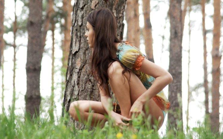 women, Model, Brunette, Long hair, Women outdoors, Nature, Skinny, Grass, Trees, Dress HD Wallpaper Desktop Background