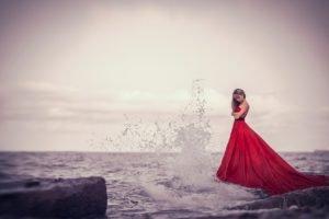 women, Sea, Dress, Red