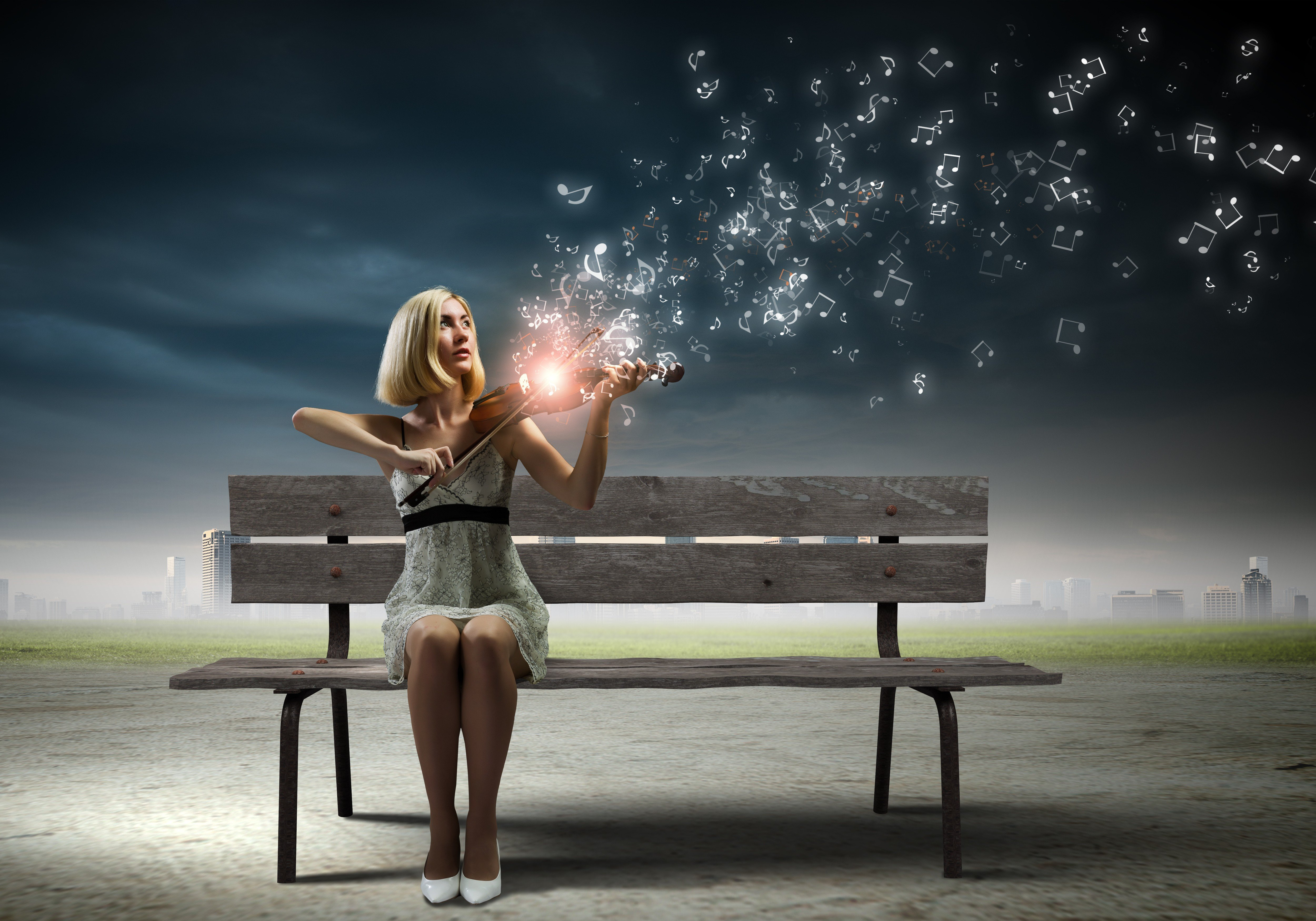 Women Model Blonde Long Hair Photo Manipulation Digital Art Sitting Bench Playing