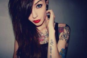 women, Tattoo, Blue eyes