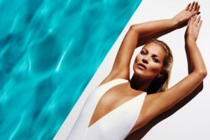 women, Blonde, Lying down, Swimming pool, Arms up, One piece swimsuit, Kate Moss