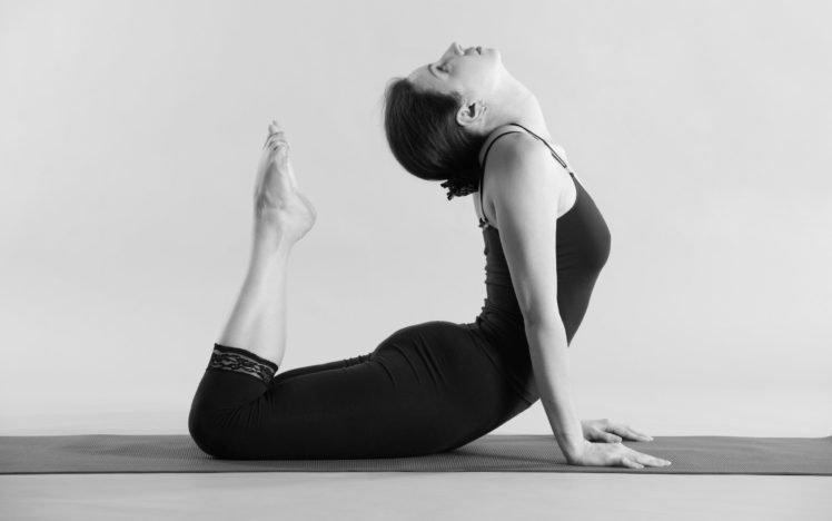 women, Yoga, Yoga pants, Monochrome HD Wallpaper Desktop Background