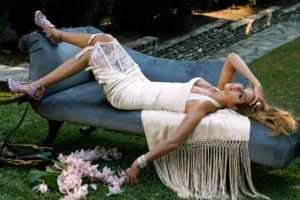 women, Jennifer Aniston, Blonde, Lying down, High heels, Dress, White dress, Cleavage