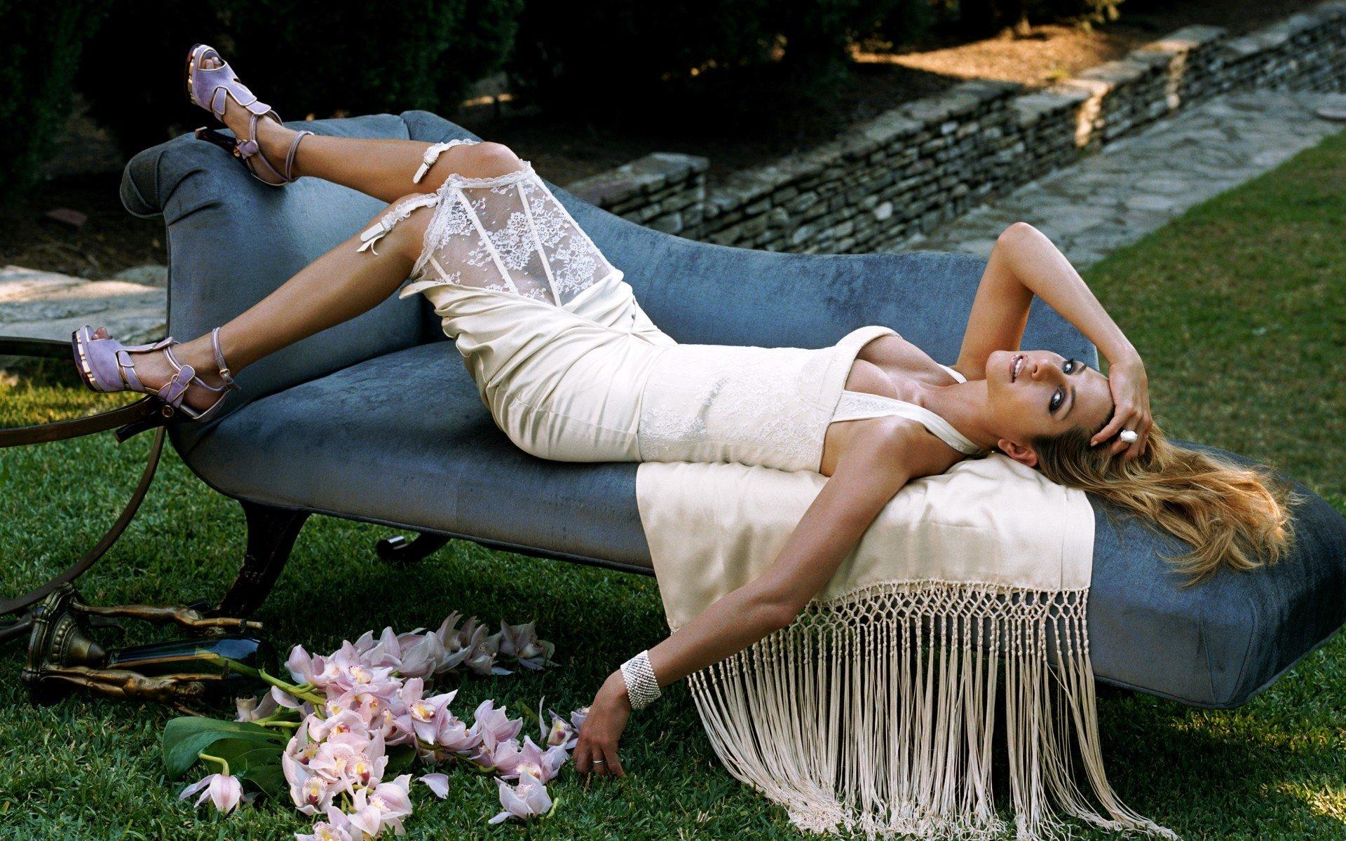 Women, Jennifer Aniston, Blonde, Lying Down, High Heels, Dress, White Dress, Cleavage