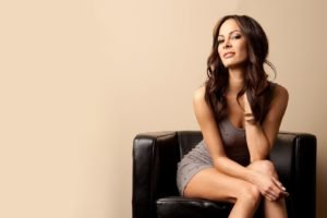 Kenda Perez, Brunette, Dress, Minidress, Legs, Legs together, Long hair, Cleavage, Women